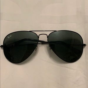 All black aviator Ray Ban sunglasses. WORN ONCE!